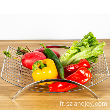 High Quality Kitchen Storage Creative Countertop Iron Silver Plated Vegetable Metal Wire Bowl Fruit Basket