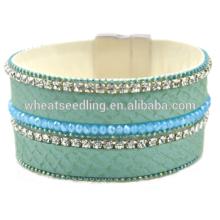 Bijoux en porcelaine en gros bracelet en cuir de style france en cuir bracelet magnétique