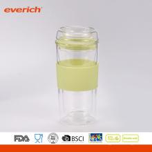 Verre à double mur gratuit en forme de BPA Robinet en verre de forme simple en verre