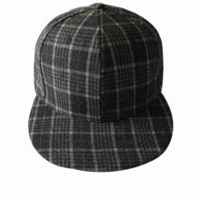 Blank Flat Brim Plaid Fabric 6 Panel Fitted Cap