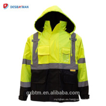 Construcción de invierno Hi Vis Workwear Vest Ansi Class 3 Alta visibilidad Yellow Safety Chaqueta reflectante