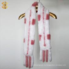 De alta calidad de estilo clásico invierno moda conejo piel bufanda mujeres
