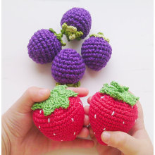 1 Piece- Crochet strawberry rattle teether piay food kitchen decoration eco-friendly Pretend Waldorf toy.