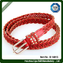 Genuine Leather Belts for Women Alloy Buckle knitted Braided Belt Woven