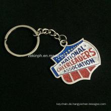 Kundenspezifische Qualitäts-Silber-Schlüsselketten mit mehrfachen Glitter-Farben für Andenken-Geschenke der Cheerleader-Vereinigung
