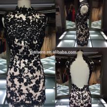 2016 new arrivals black applique Mini wedding dress high quality hot sexy fashion lace wedding dress