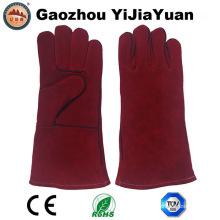Red Cowhide Split Leder Sicherheit Industrie Schweißer Handschuhe mit Ce En 407
