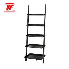 Black Modern 5 Ladder Bookcase Wood Shelf