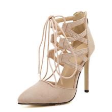 Высокий каблук женщин сандалии с кружевом