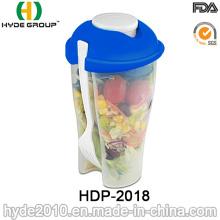 Copo plástico reutilizável do abanador do recipiente da salada com forquilha (HDP-2018)