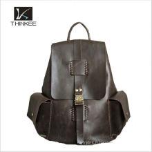 2016 en gros populaire noir hommes en cuir véritable sac à dos pour les hommes