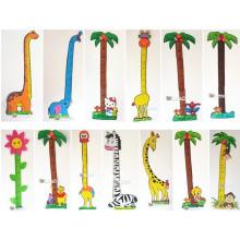 Etiqueta engomada de la regla dibujos animados decoración animal altura pegatinas niño eva altura mesa espuma altura carta pared