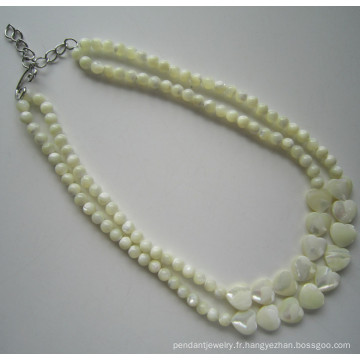 Collier de perles 2 rangs Fashion Costume Shell pour femmes