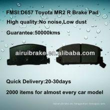 D657 Toyota MR2 piezas de freno semimetálicas