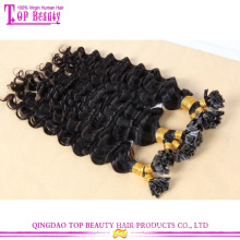 Großhandel billig hochwertige unbearbeitet brasilianischen tiefe Welle reines Haar u Tip Haarverlängerung