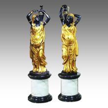 Estatua de Candelero Escultura de Bronce Candelabro Femenina TPE-027 (R)