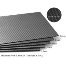 CNC-Schneiden Carbonplatten 1,0 * 400 * 500mm glänzend / Twill Glas 3k Kohlefaserplatte / Blatt / Platte