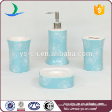 Beauty acaleph pattern blue ceramic bathroom set for household