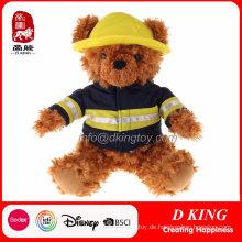 Benutzerdefinierte Feuerwehrmann Uniform gefüllte Teddybär Plüschtier