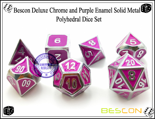 Bescon Deluxe Chrome and Purple Enamel Solid Metal Polyhedral Role Playing RPG Game Dice Set (7 Die in Pack)-5