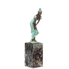 Figura femenina Colección de arte Decoración de la muchacha hecha a mano Latón Estatua TPE-741