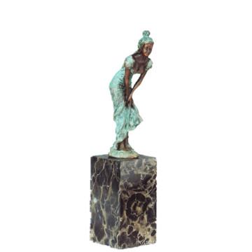 Figura Feminina Art Collection Hand-Made Menina Decoração Latão Estátua TPE-741