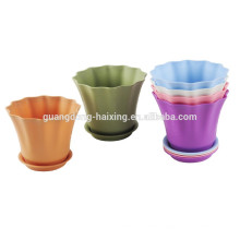 2015 New Flower Pot with bottom base/ Garden Decorated Plastic Flower Pot