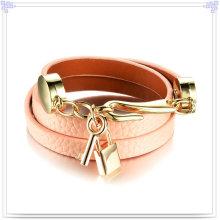 Jóia de aço inoxidável couro pulseira de couro da jóia (lb479)