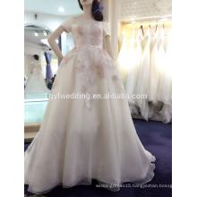 2016 Light Champagne Empire Elegant Embroidered Flower Design Handmade Stain Long Sleeve Women Evening Dress A177-1