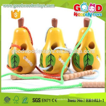Biology Learing Worm Eat Pear Children Wooden Threading Toys