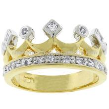 Venda Por Atacado Kate Bissett Dois tons coroa moda jóias de ouro anel cúbico zircônia fabricante
