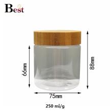frasco cosmético do animal de estimação do empacotamento 500ml claro com a tampa de bambu para o alimento de creme