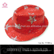 Wholesale sequin fedora hat with stars