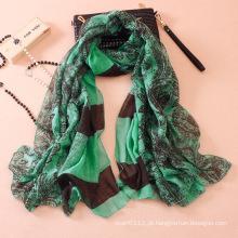 Mulheres moda paisley impresso algodão lenço de seda (yky1143)
