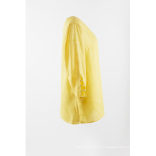 Yellow linen blouse with 3/4 sleeve