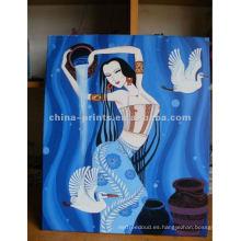 Pintura al óleo desnuda atractiva de la lona del retrato de la mujer
