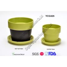 Cerâmica, dois, tom, decorativo, planta, potes, jogo