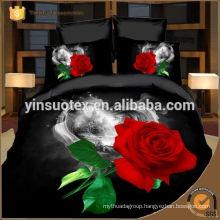 black rose 3D polyester bedding set