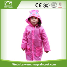 Kids Polyester Waterproof Custom Pink Rainsuit