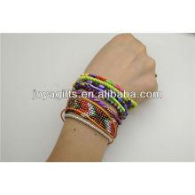 Handmade tecido estilo boêmio pulseira com fecho magnético