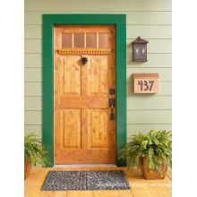 4 Panel 4 Clear Glass Pine Wood Exterior Wood Door Painted