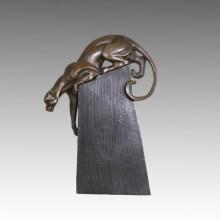 Tier Bronze Skulptur Löwe / Leopard Carving Deko Messing Statue Tpal-466