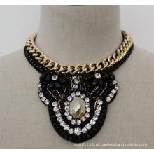 Senhoras talão de cristal moda charme chunky traje colar gargantilha (je0016)