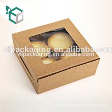Kraftpapier-Rechteck-Kuchen-Kasten mit Fenster