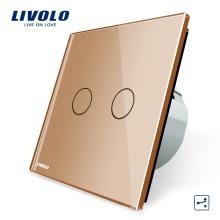 Commutateur électrique Livolo Standard européen, panneau de verre en cristal de luxe doré et 2 interrupteurs de lumière muraux à écran tactile à 2 fonctions