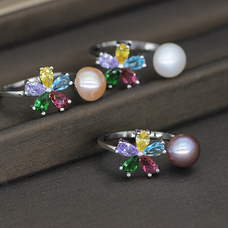Colorful Flower Pearl Ring