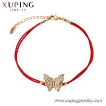 75627 Xuping Venta Caliente popular Mujeres chapado en oro diseño original cuerda roja Pulsera