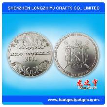 Moneda en relieve brillante de oro brillante / plata brillante, moneda de metal 3D de fundición