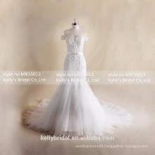 MB16013 Off-shoulder Gorgeous Wedding Dresses Cheap Plus Size Mermaid Gowns For Wedding With Lace Up Back