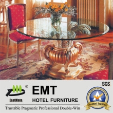Glass Tabletop Wooden Base Hotel Lobby Table (EMT-FD05)